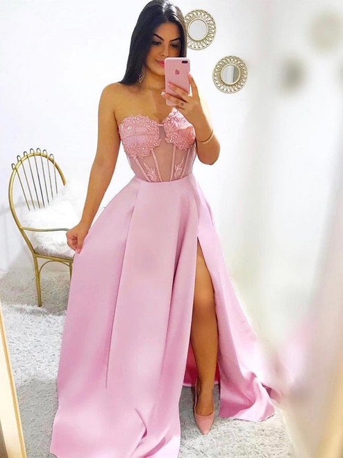 A-Line Pink Satin Lace Sweetheart Sexy Prom Dress With Side Split