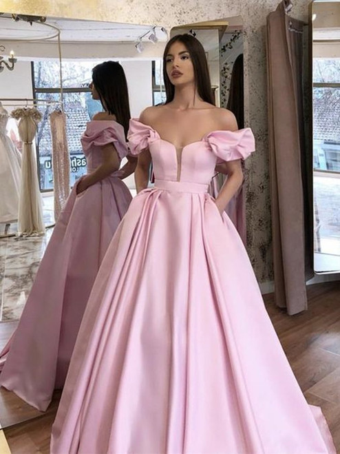 A-Line Pink Satin Off The Shoulder Long Prom Evening Dress