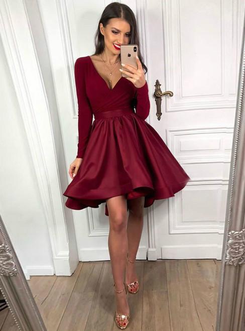 A-Line Burgundy Satin Deep V-neck Long Sleeve Short Cocktail dress