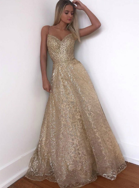 A-Line Gold Tulle Sequins Spaghetti Straps Backless Long Prom Dress