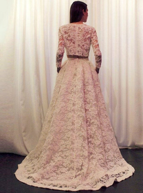 A-Line Illusion Neckline Two Piece Lace Long Sleeve Wedding Dress