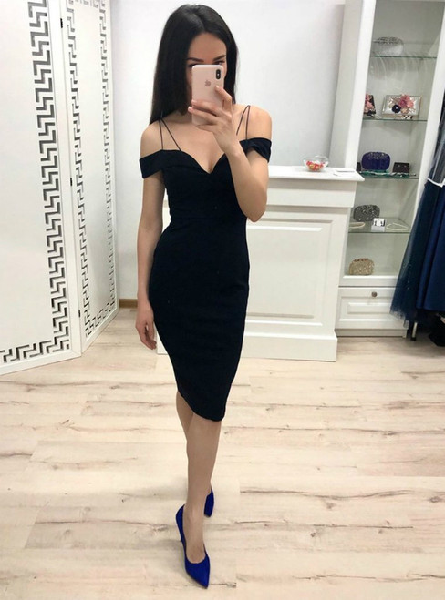 Black Mermaid Satin Spaghetti Straps Short Homecoming Dresses