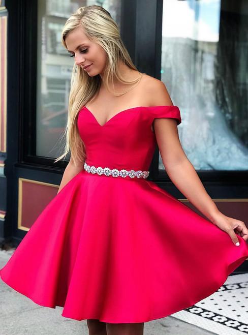 Red Satin Off the Shoulder Short Graduation Homecoming Dress