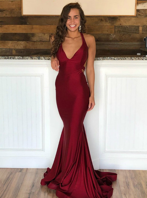 Sexy Burgundy Mermaid Satin Backless V-neck Prom Dress