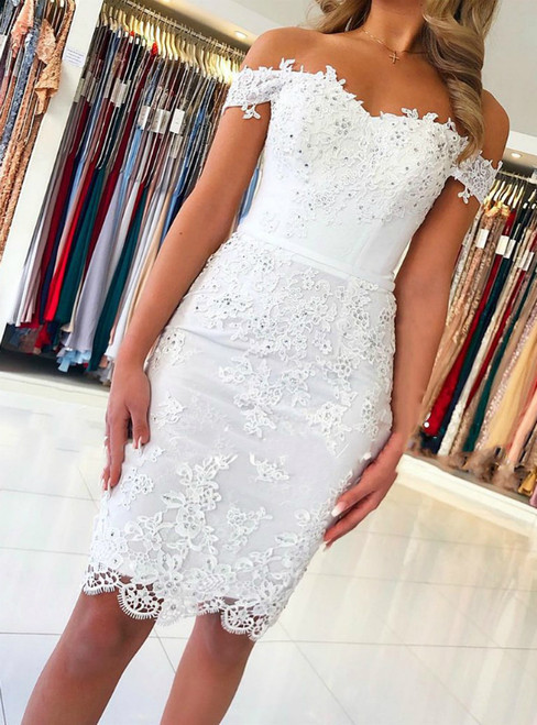 White Mermaid Lace Appliques Off the Shoulder Homecoming Dress