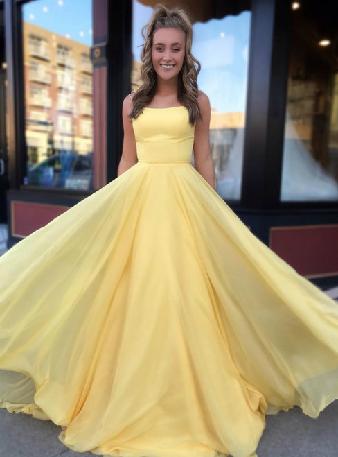 A-Line Yellow Chiffon Double Straps Long Prom Dress