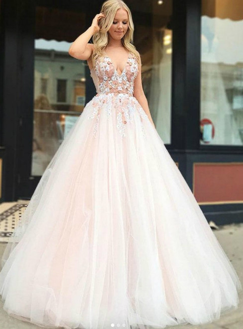 Champagne Pink Tulle V-neck Backless Appliques Long Prom Dress
