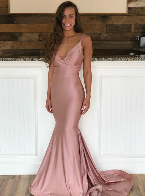 Pink Mermaid Satin Spaghetti Straps Backless Long Prom Dress