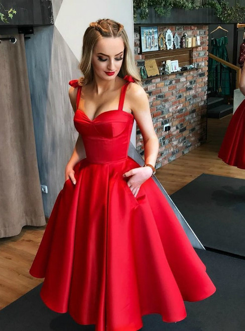 A-Line Red Satin Straps Tea Length Prom Dress With Pocket