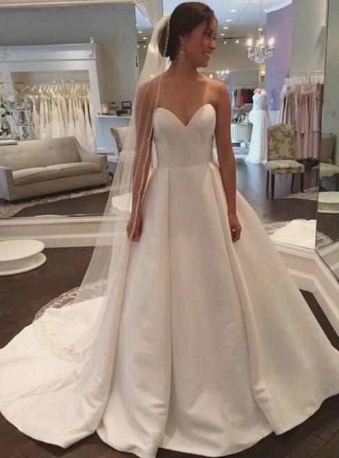 A-Line White Sweetheart Satin Floor Length Weddign Dress