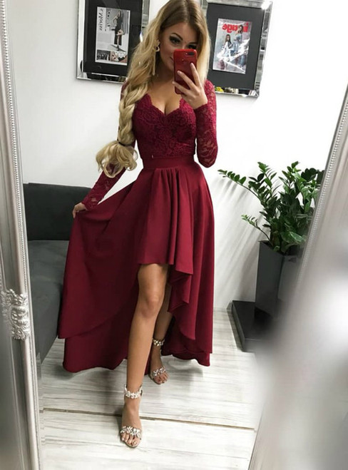 Burgundy Hi Lo Satin Lace V-neck Long Sleeve Backless Prom Dress