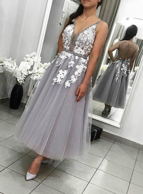 A-Line Gray Tulle V-neck Backless Appliques Tea Length Prom Dress