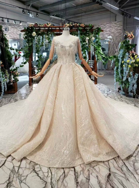 Champagne Ball Gown Sequins Cap Sleeve Open Back Luxury Wedding Dress With Beading
