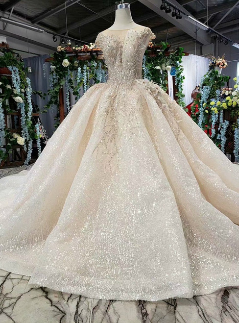 Champagne Sequins Cap Sleeve Appliques Luxury Wedding Dress With Long Train