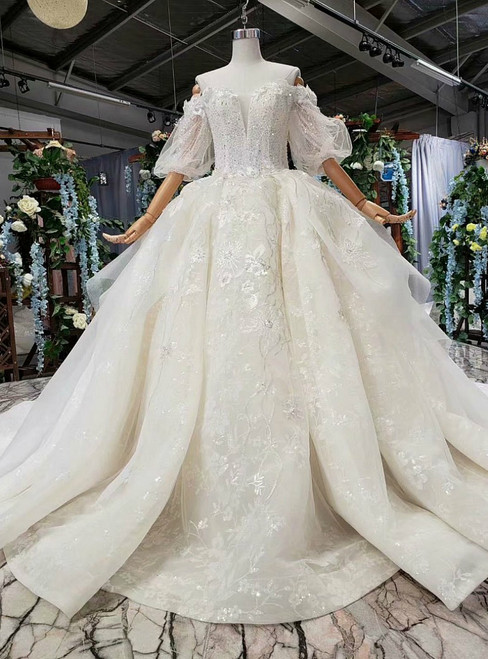 Champagne Ball Gown Tulle Appliques Off the Shoulder Puff Sleeve Luxury Wedding Dress