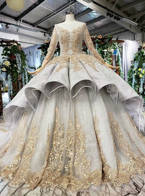 Gray Ball Gown Tulle Appliques Long Sleeve Luxury Wedding Dress With Beading