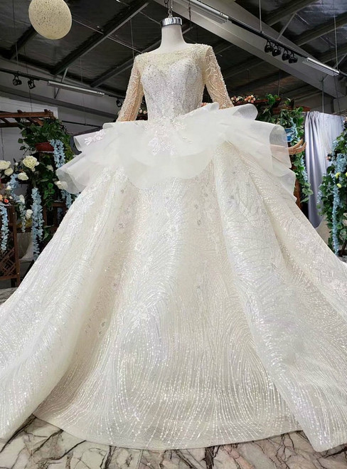 Champagne Ball Gown Sequins Long Sleeve Luxury Wedding Dress With Long Train