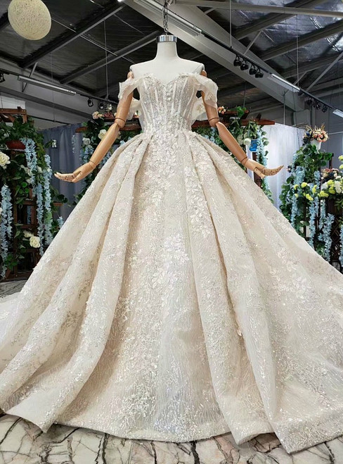 Champagne Lace Sequins Off the Shoulder Appliques Luxury Wedding Dress With Beading