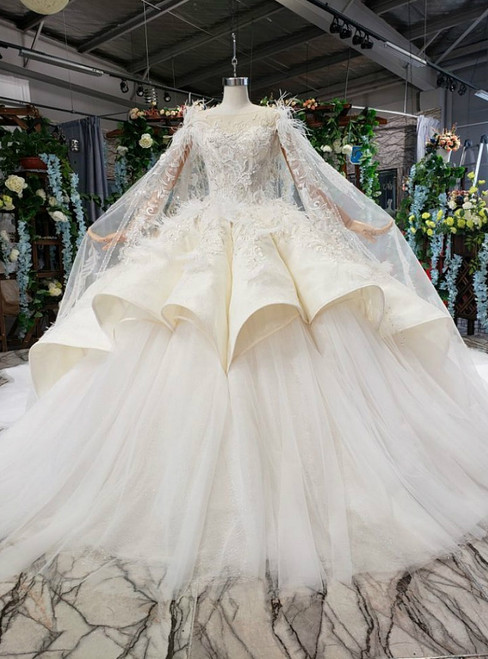 Champagne Ball Gown Tulle Satin Appliques Luxury Wedding Dress With Feather