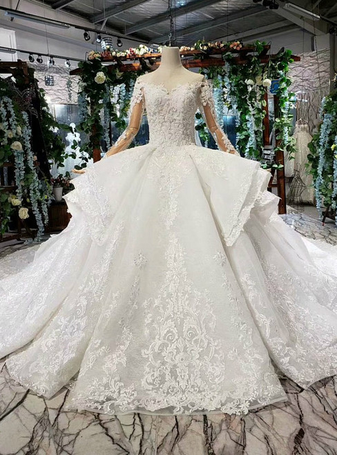 Ivory White Ball Gown Lace Long Sleeve Backless Luxury Wedding Dress With Beading