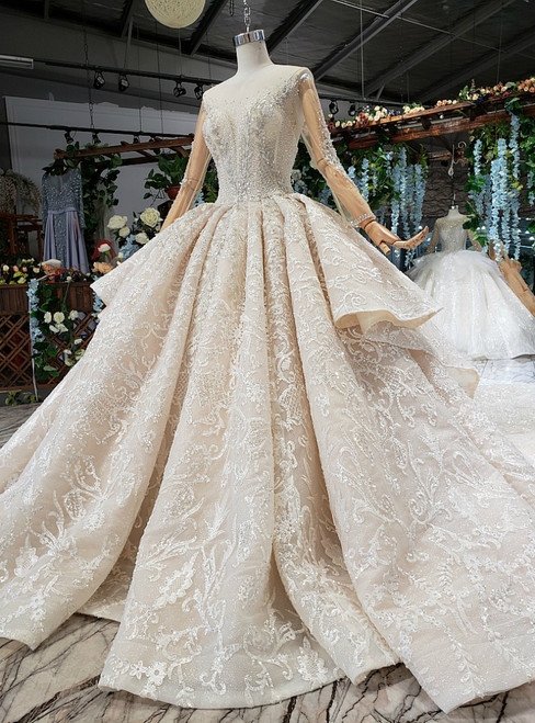 Champagne Ball Gown Appliques Long Sleeve Backless Luxury Wedding Dress With Beading