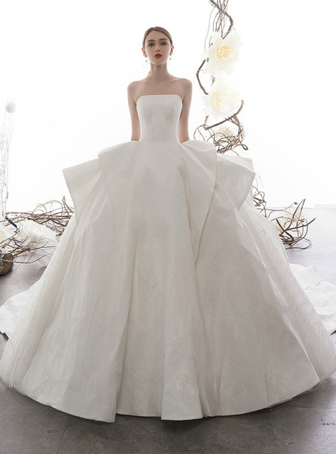 Fashion White Ball Gown Tulle Sequins Strapless Wedding Dress With Train