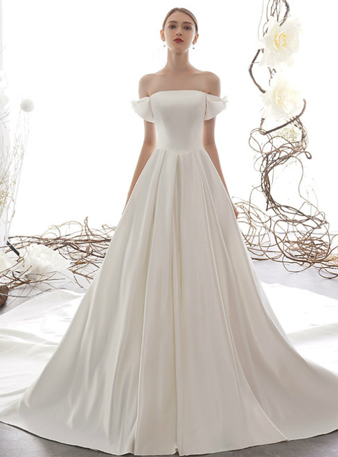 White Ball Gown Satin Off the Shoulder Simple Wedding Dress