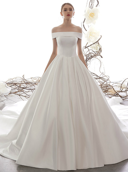 Simple White Ball Gown Satin Off the Shoulder Wedding Dress With Train