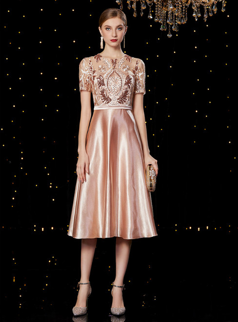 A-Line Pink Satin Short Sleeve Lace Appliques knee Length Mother Of The Bride Dress