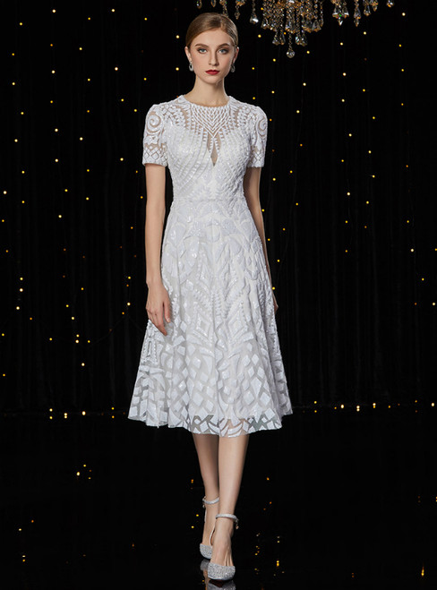 28c2539bba A-Line White Sequins Short Sleeve Knee Length Mother Of The Bride Dress
