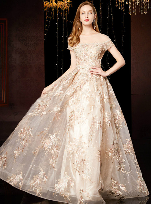 A-Line Champagne Tulle Appliques Cap Sleeve Mother Of The Bride Dress