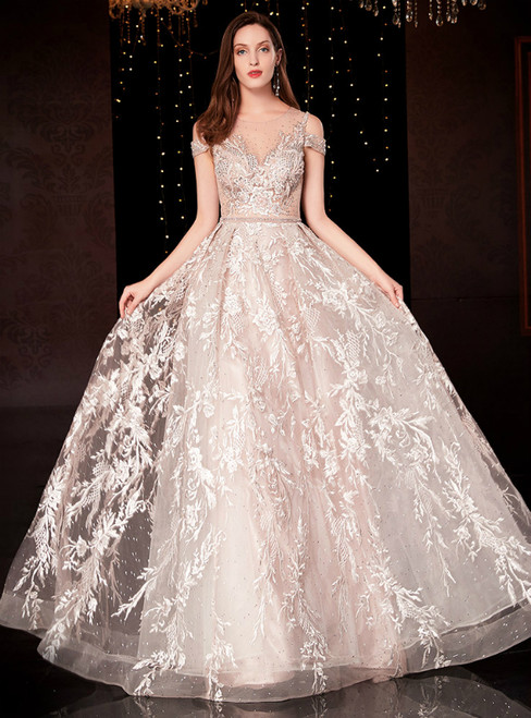 A-Line Light Pink Tulle Appliques See Through Back Mother Of The Bride Dress