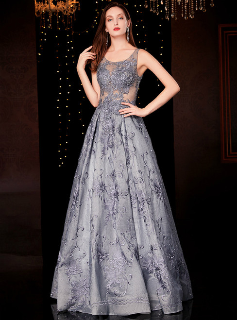 Gray Tulle Appliques Sleeveless Long Mother Of The Bride Dress