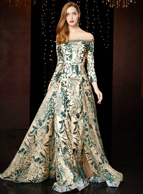 A-Line Champagne Tulle Green Sequins Long Sleeve Mother Of The Bride Dress