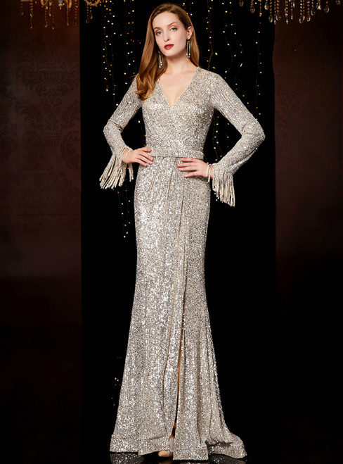 Silver Mermaid Sequins V-neck Long Sleeve Mother Of The Bride Dress