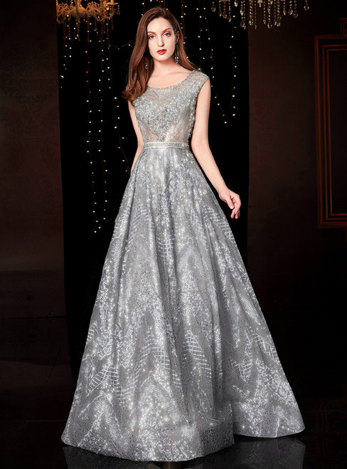 A-Line Silver Gray Tulle Sequins Long Mother Of The Bride Dress