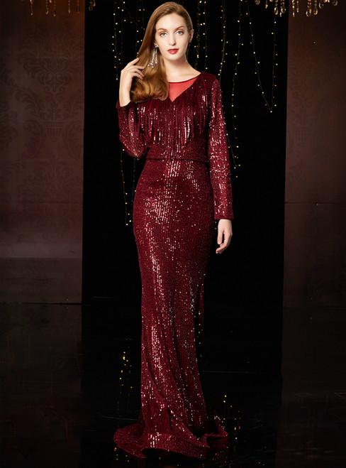 Burgundy Mermaid Sequins Long Sleeve Long Long Mother Of The Bride Dress