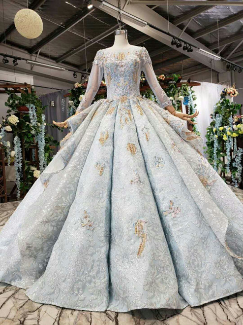 Blue Ball Gown Sequins Long Sleeve Appliques Luxury Wedding Dress With Pearls