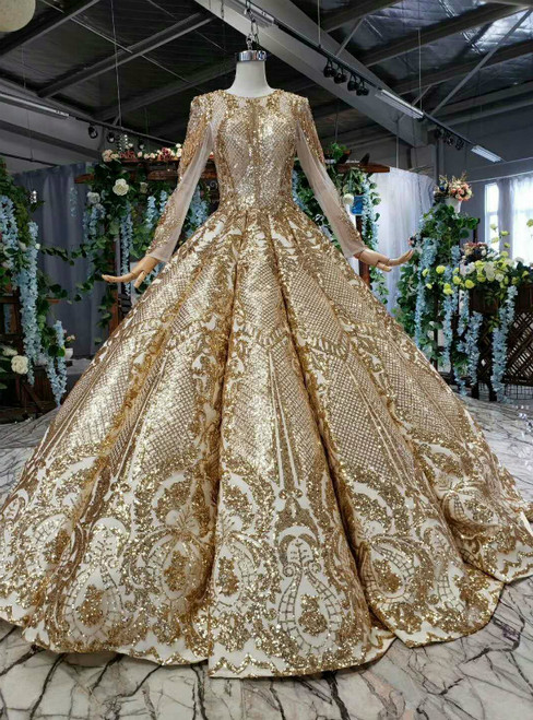 Gold Ball Gown Sequins Long Sleeve Luxury Wedding Dress With Beading