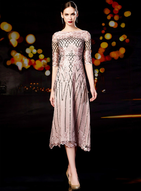 Sheath Pink Tulle Sequins Half Sleeve Mother Of The Bride Dress