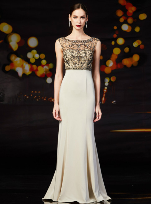 Champagne Mermaid Satin Bateau With Beading Mother Of The Bride Dress