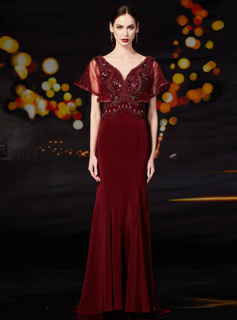 Burgundy Mermaid Satin V-neck Long Mother Of The Bride Dress With Beading