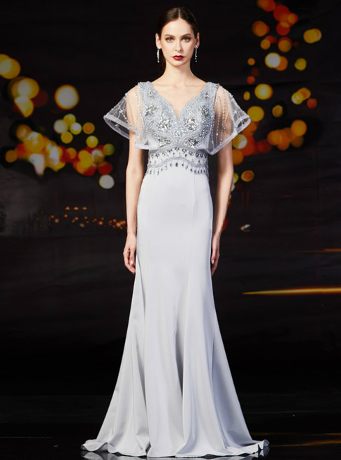 Gray Mermaid Satin V-neck Long Mother Of The Bride Dress With Beading