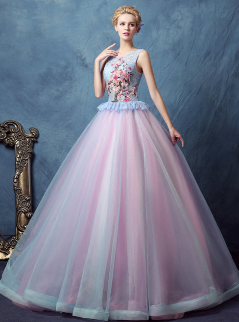 In Stock:Ship in 48 Hours Blue Pink Tulle Lace Appliques Quinceanera Dresses
