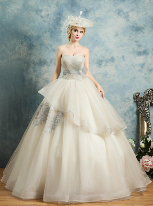 In Stock:Ship in 48 Hours Champagne Tulle Sweetheart Pleats Quinceanera Dress