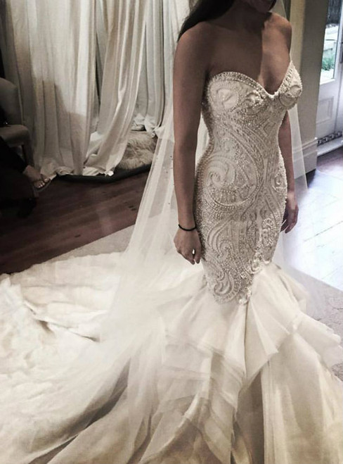Gorgeous Mermaid Sweetheart Neck Wedding Dress with Pearls Beadings