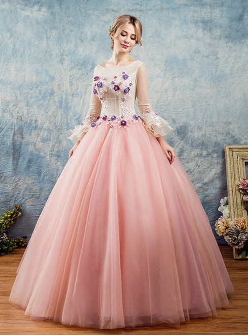 In Stock:Ship in 48 Hours Pink Tulle Long Sleeve 3D Flower Quinceanera Dress