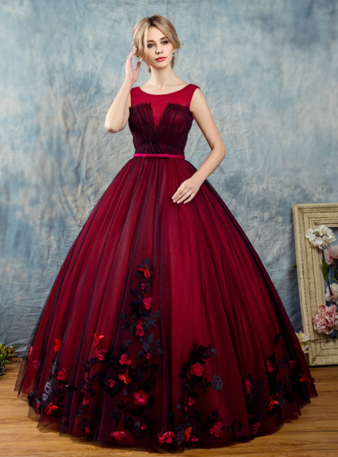 In Stock:Ship in 48 Hours Burgundy Tulle Backless Appliques Quinceanera Dress
