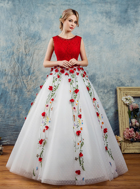 In Stock:Ship in 48 Hours White Tulle Red Lace Appliques Quinceanera Dress