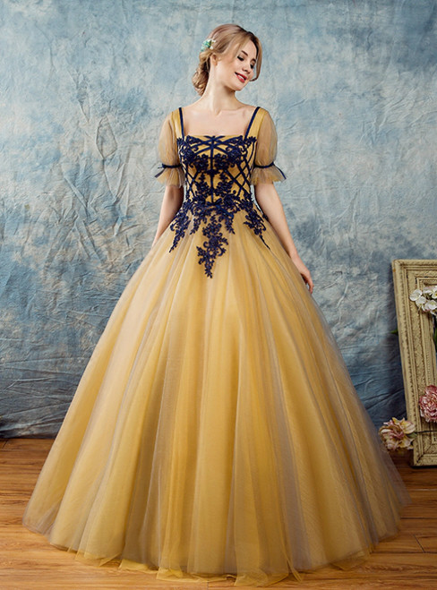 In Stock:Ship in 48 Hours Yellow Tulle Square Short Sleeve Quinceanera Dress